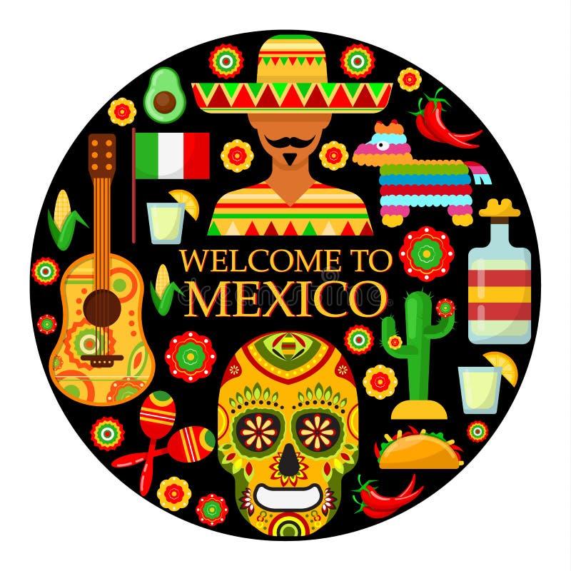 Mexicaanse attributen op zwarte achtergrond royalty-vrije illustratie