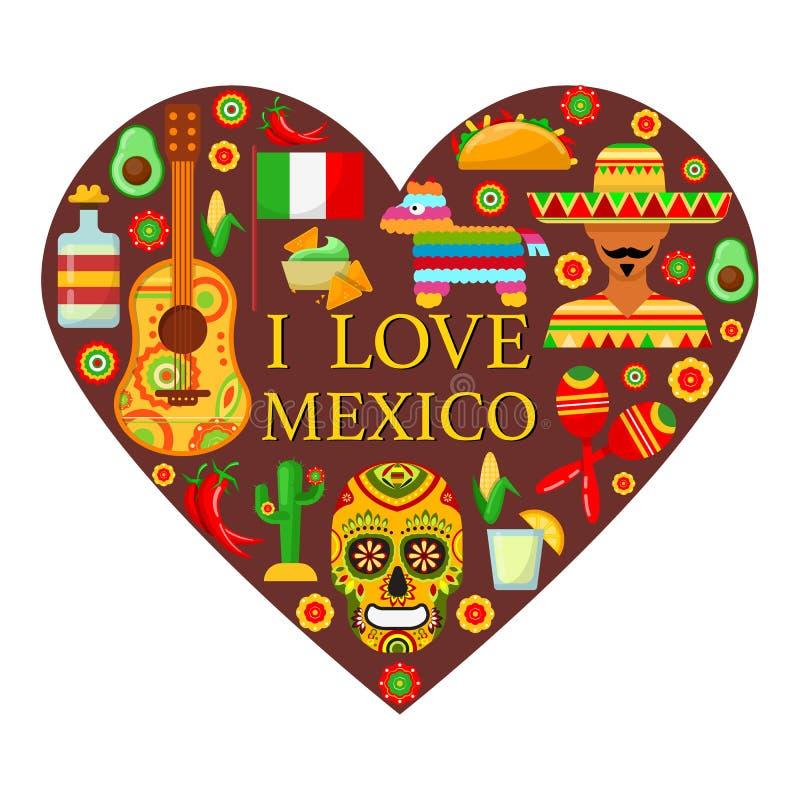 Mexicaanse attributen in vorm van hart vector illustratie