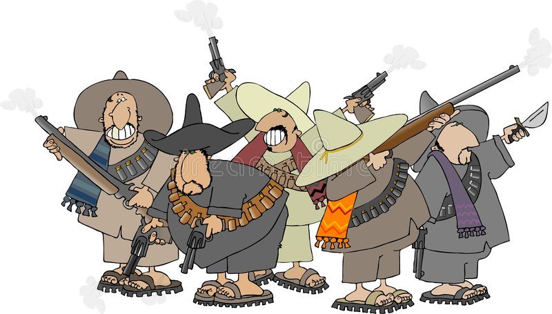 Mexicaanse banditos stock illustratie