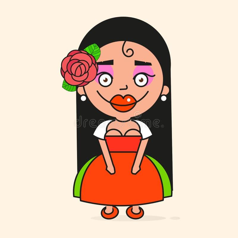 Mexicaanse Beeldverhaalvrouw, Klaar voor Uw Ontwerp, Groetkaart, Banner Vector stock illustratie