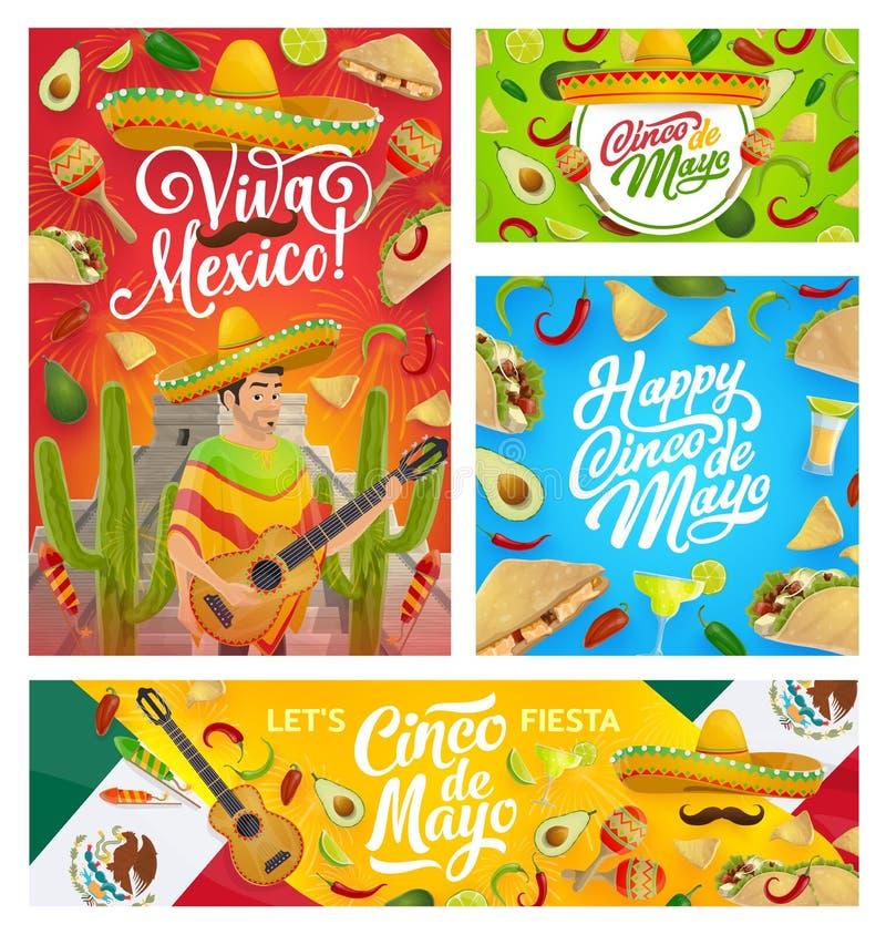 Mexicaanse Cinco de Mayo-mens in de gitaar van het sombrerospel vector illustratie
