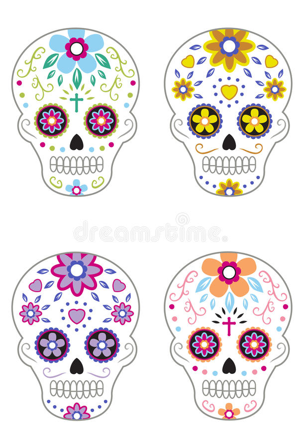 Mexicaanse Dag van Dood Sugar Skulls 2 vector illustratie