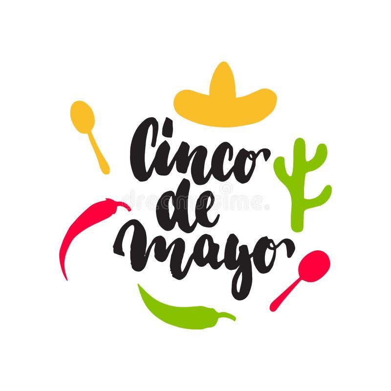 Mexicaanse de groet van letters voorziende kaart van Cinco de Mayo Vectorillustratie met hand getrokken schetsjalapeno, cactus, s stock illustratie