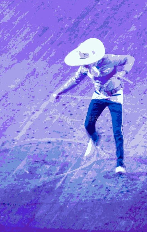 Mexicaanse de kabeltruc van de cowboy royalty-vrije illustratie