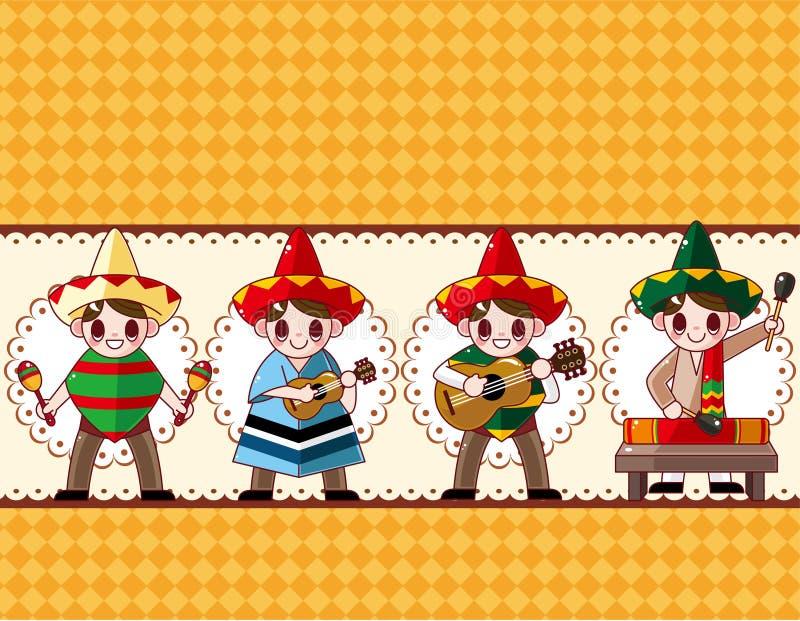 Mexicaanse de muziekband van het beeldverhaal, raadskaart vector illustratie