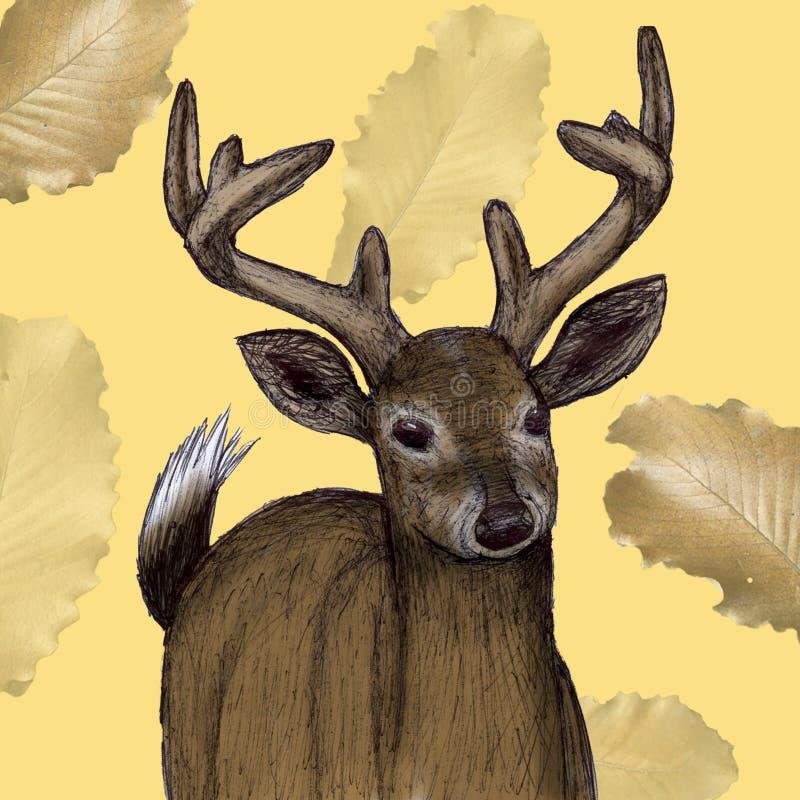 Mexicaanse die Hertenillustratie in pen met digitale kleur wordt getrokken royalty-vrije illustratie