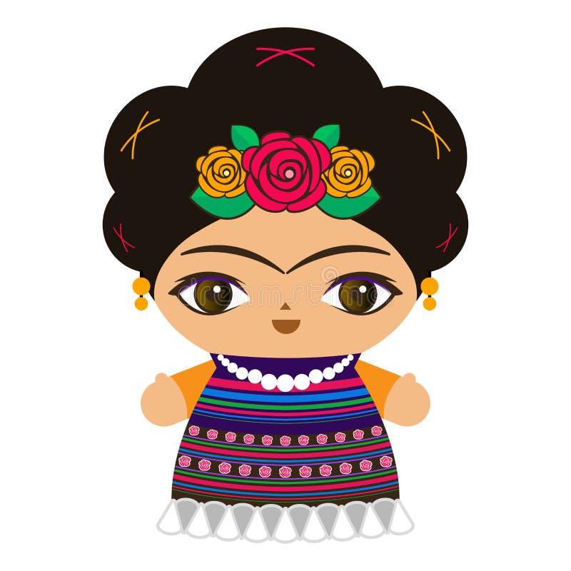 Mexicaanse Doll vectorillustratie, pop de in traditionele stijl van Mexico vector illustratie