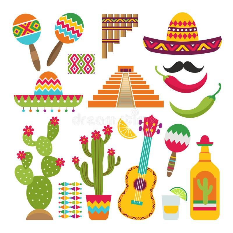Mexicaanse Elementen Reeks traditionele Mexicaanse symbolen voor diverse ontwerpprojecten vector illustratie