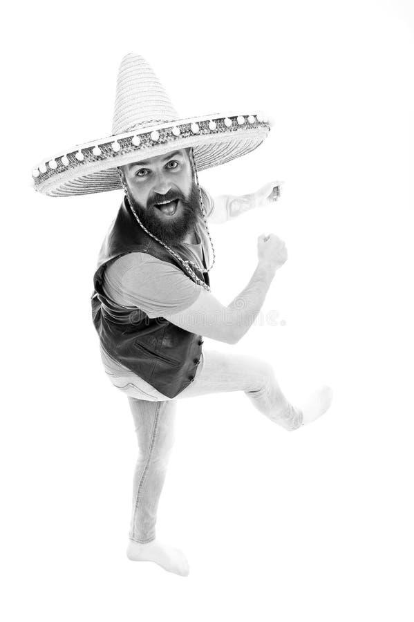Mexicaanse energieke bui Van de de slijtagesombrero van de mensen de gebaarde vrolijke kerel Mexicaanse hoed Mexicaans partijconc royalty-vrije stock foto