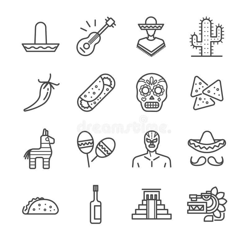 Mexicaanse geplaatste pictogrammen stock illustratie