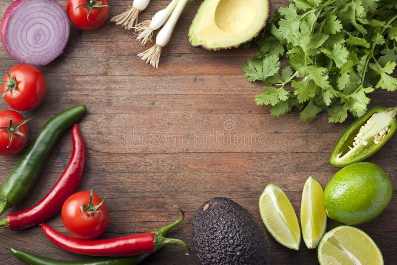 Mexicaanse Groenten Houten Achtergrond stock fotografie