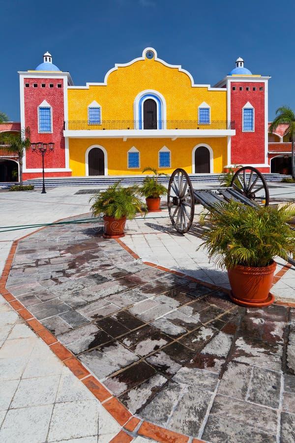 Mexicaanse hacienda in Mayan Riviera royalty-vrije stock afbeelding