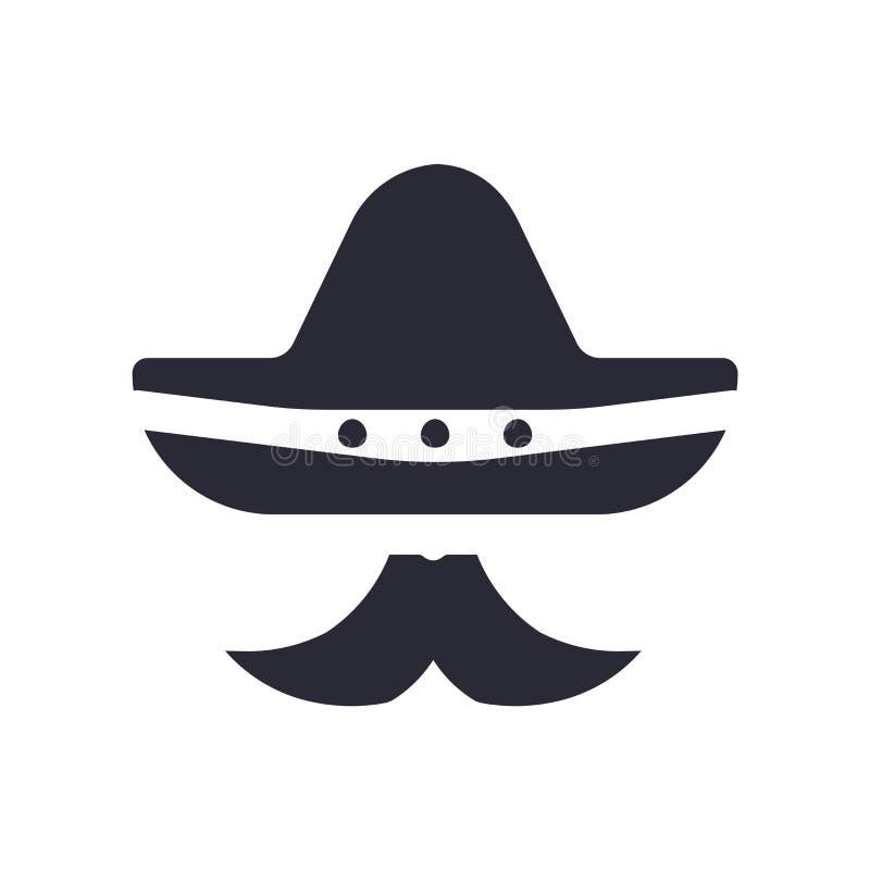 Mexicaanse hoed en het het vectorteken en symbool van het snorpictogram dat op witte achtergrond wordt geïsoleerd, Mexicaanse hoe stock illustratie