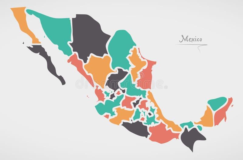 Mexicaanse Kaart met staten en moderne ronde vormen royalty-vrije illustratie