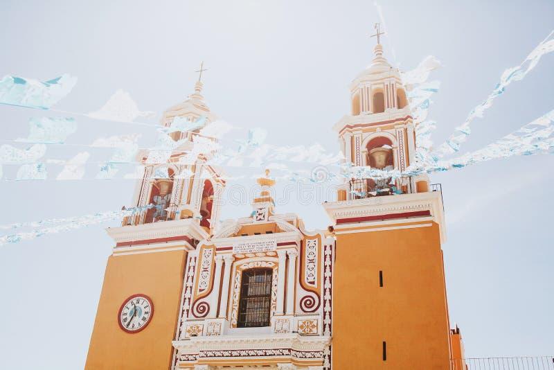 Mexicaanse Kerk, Iglesia Cholula Puebla Mexico royalty-vrije stock foto's