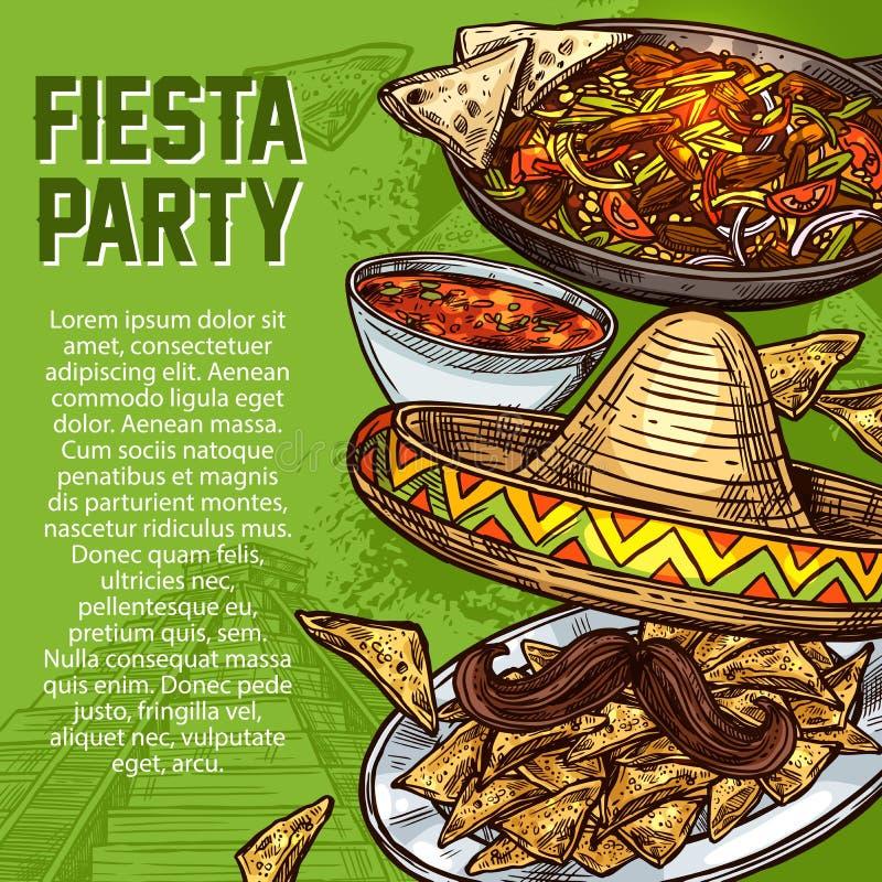 Mexicaanse keukenschotels, Cinco de Mayo-fiestapartij royalty-vrije illustratie