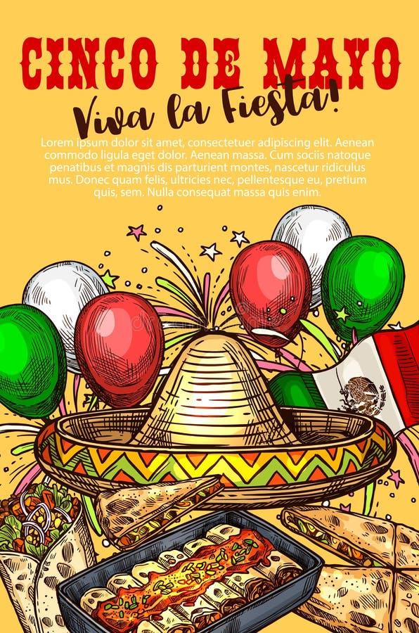 Mexicaanse keukenschotels, Cinco de Mayo-vakantie royalty-vrije illustratie