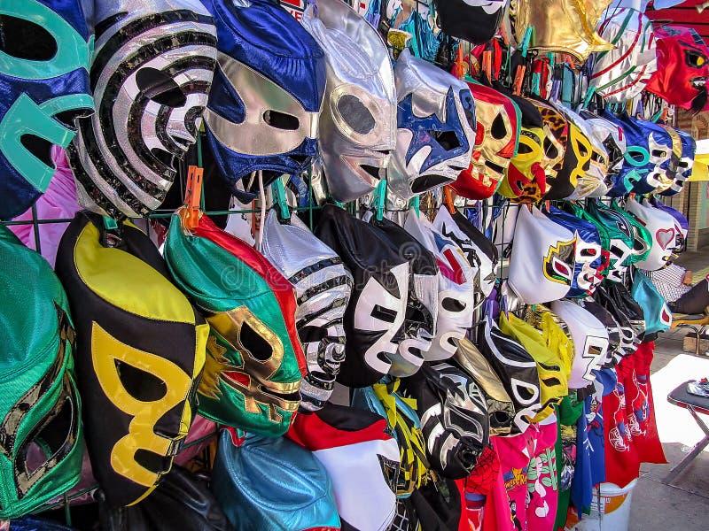 Mexicaanse Luchador-Maskers voor Verkoop royalty-vrije stock foto's
