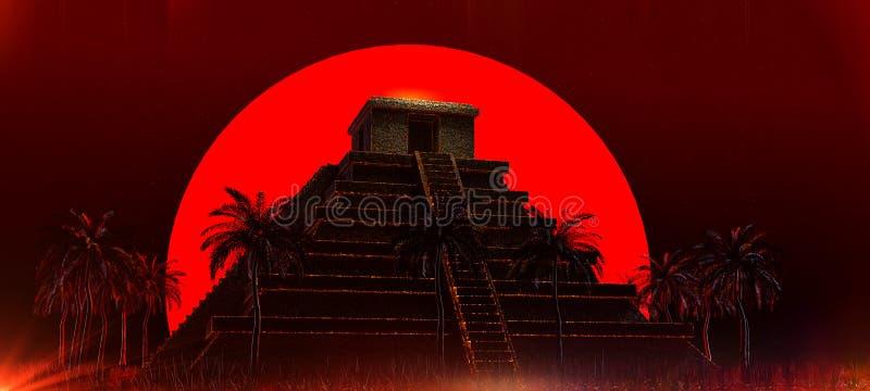 Mexicaanse Mayan Azteekse Piramide voor grote rode bloed super maan Halloween-3d achtergrond van de vampier de magische etnische  royalty-vrije stock afbeeldingen