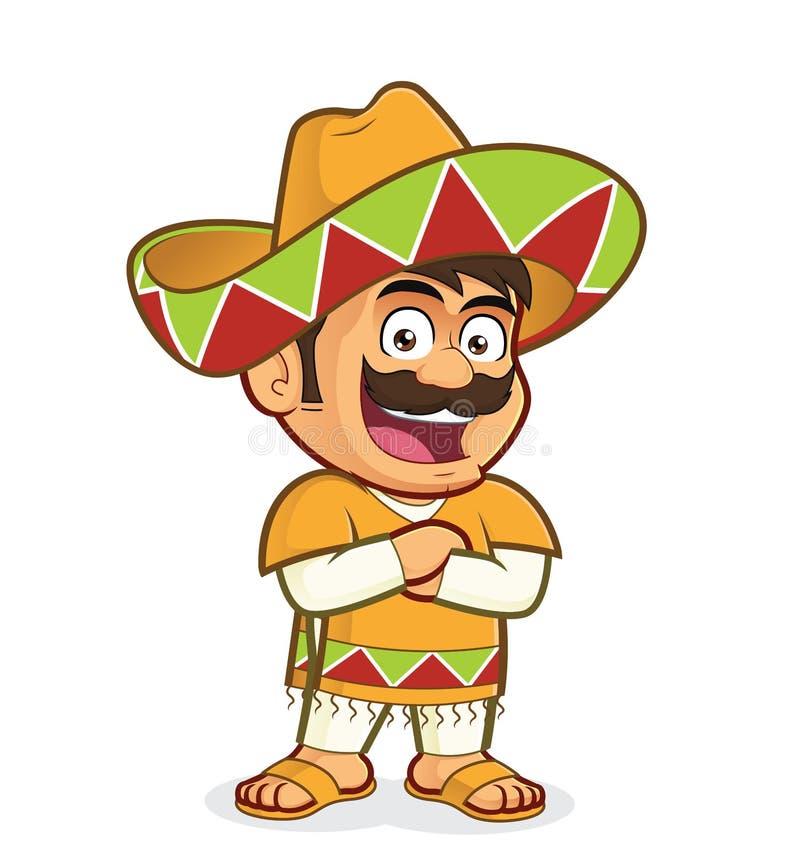 Mexicaanse mens met gevouwen handen stock illustratie