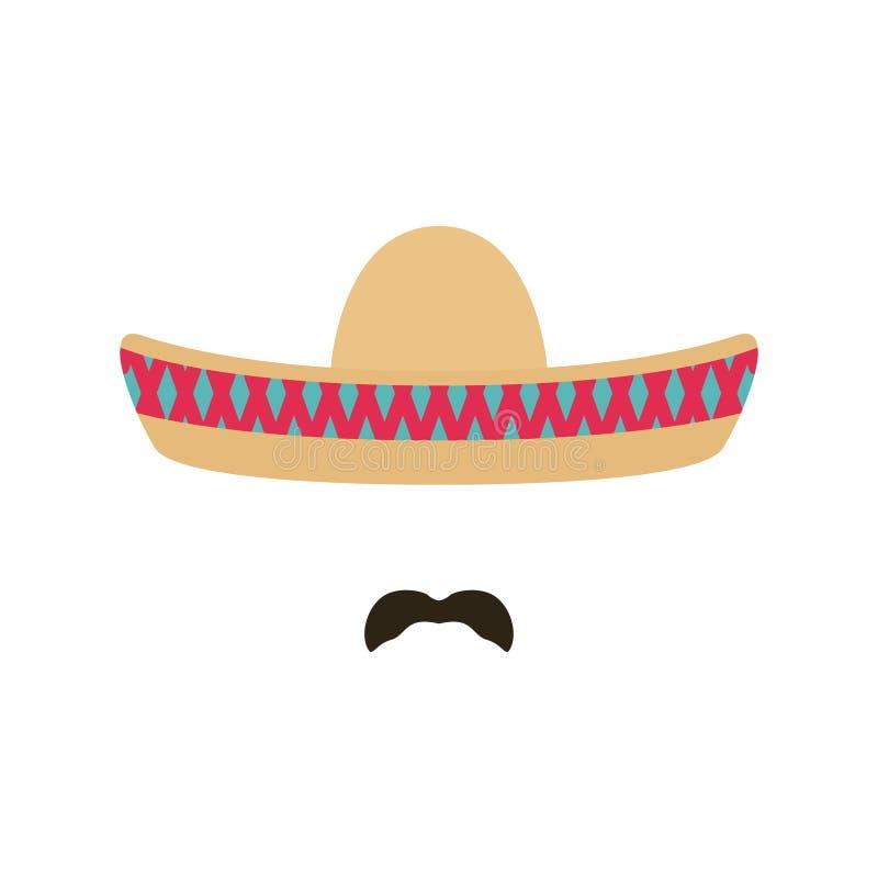 Mexicaanse mens met sombrero en snor royalty-vrije illustratie