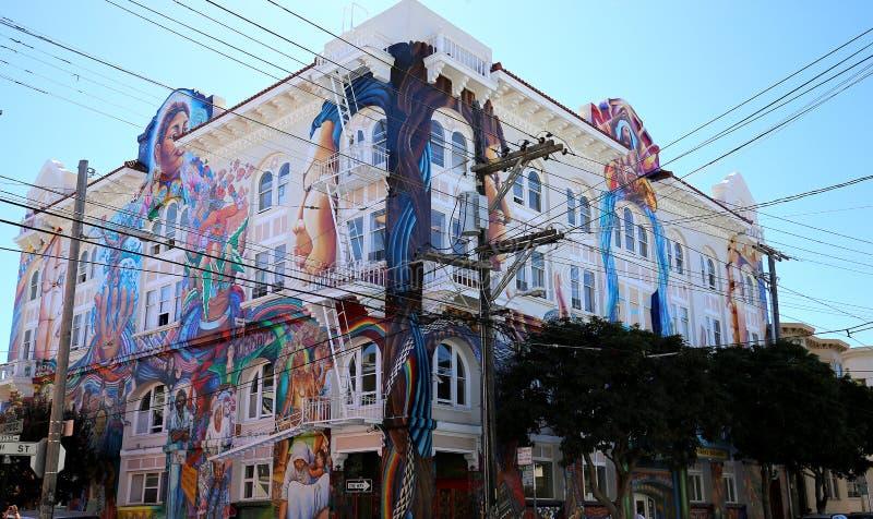 Mexicaanse muren van huis van vrouwen, San Francisco, Californië, de V.S. royalty-vrije stock afbeelding