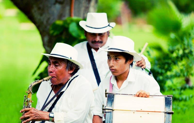 Mexicaanse musici die traditionele instrumenten spelen royalty-vrije stock foto's