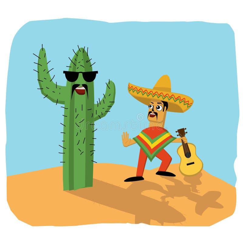 Mexicaanse musicus en cactus stock afbeelding