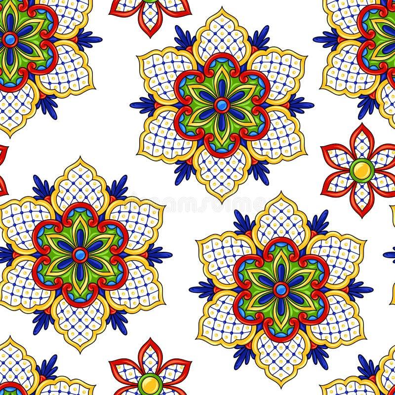 Mexicaanse naadloze patroonbloemen vector illustratie