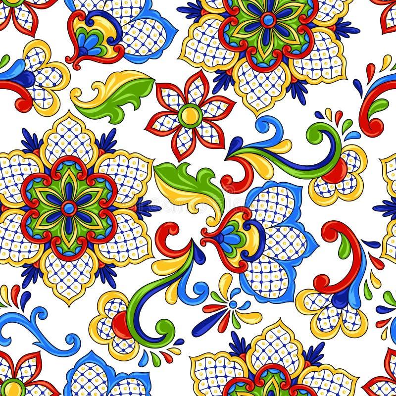 Mexicaanse naadloze patroonbloemen royalty-vrije illustratie