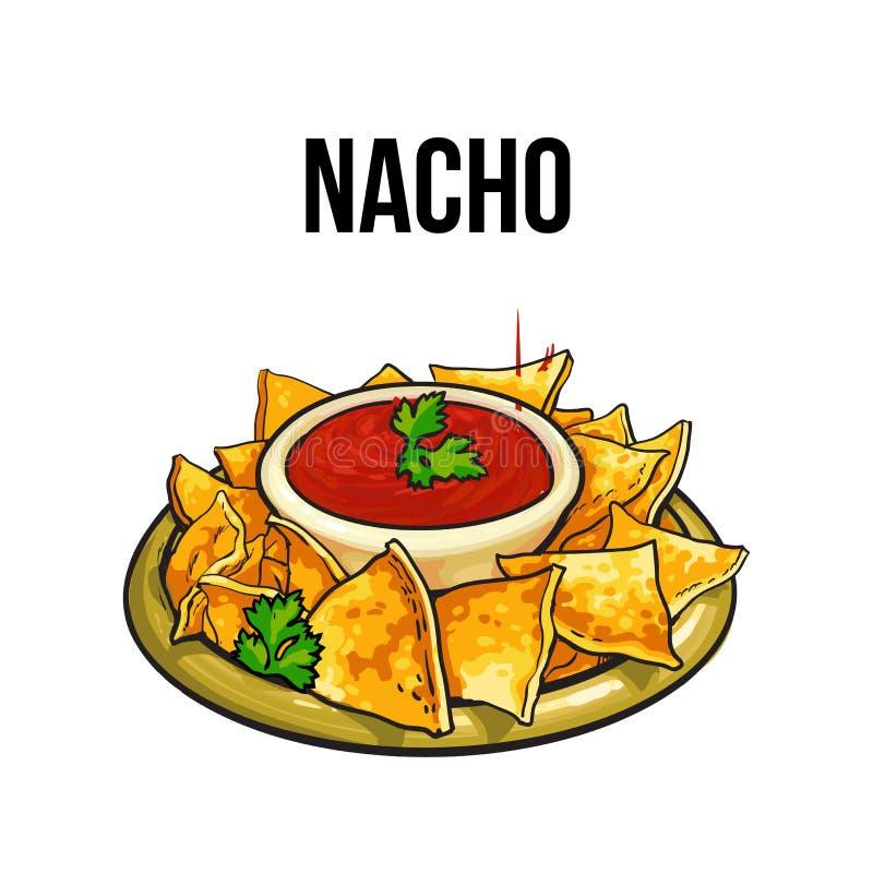 Mexicaanse nachos, graantortilla met salsasaus vector illustratie