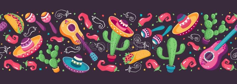 Mexicaanse objecten banner royalty-vrije illustratie
