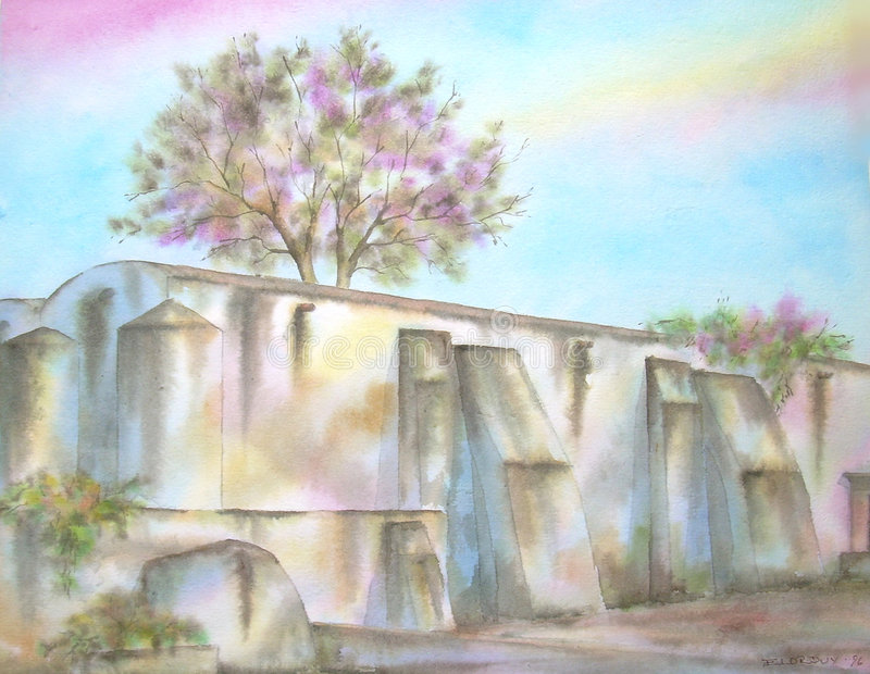 Mexicaanse Oude Ruïnes Hacienda royalty-vrije illustratie