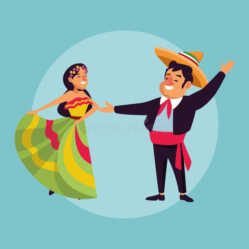 Mexicaanse paarbeeldverhalen stock illustratie
