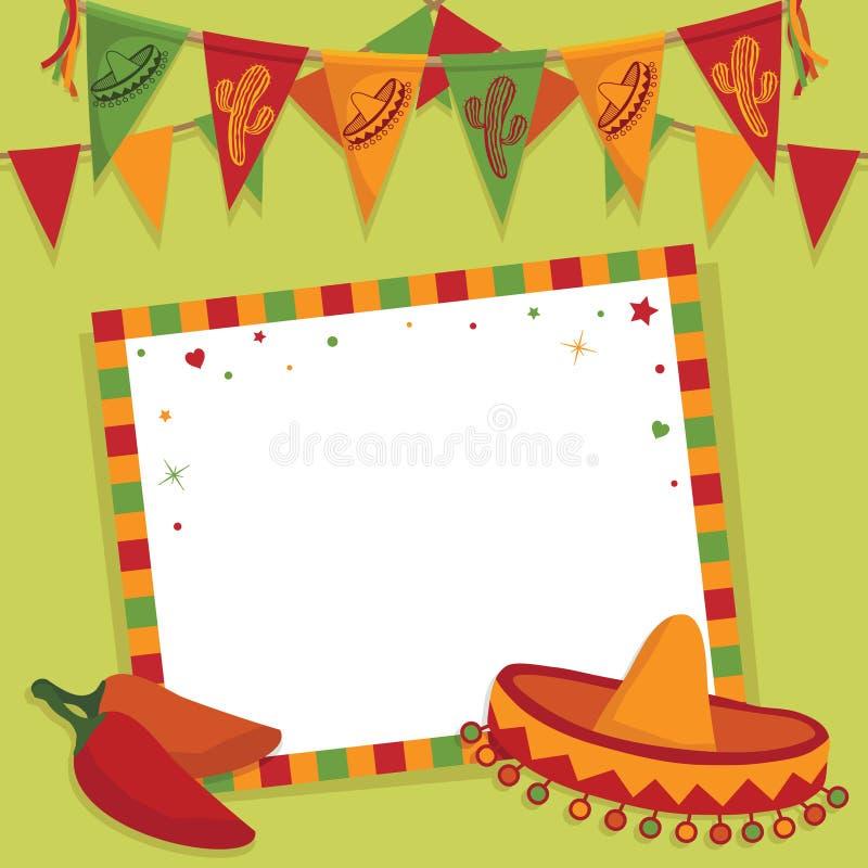 Mexicaanse partijkaart vector illustratie