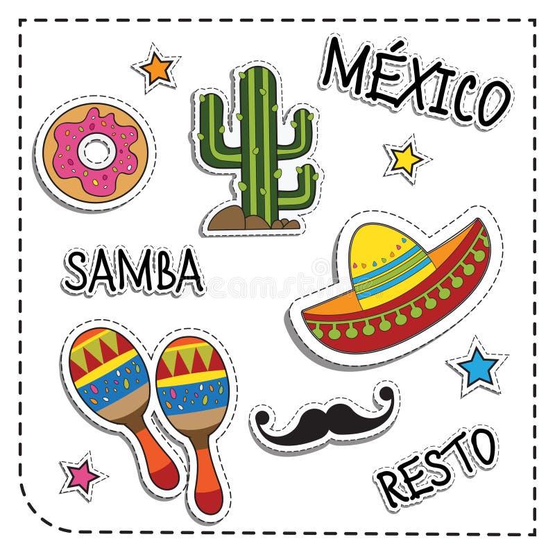 Mexicaanse partijsticker applique De stijl van Mexico Vector illustratiereeks stock illustratie