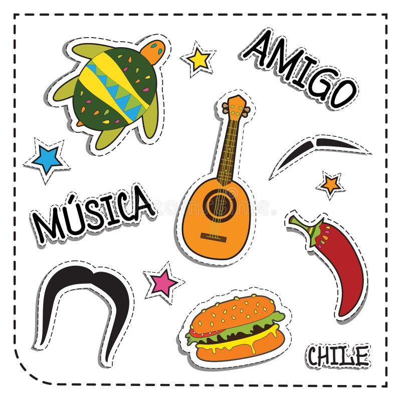Mexicaanse partijsticker applique De stijl van Mexico Vector illustratiereeks musica betekent muziek de amigo bedoelt vriend, Chi stock illustratie