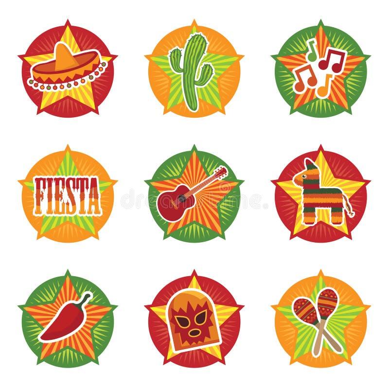 Mexicaanse pictogrammen royalty-vrije illustratie