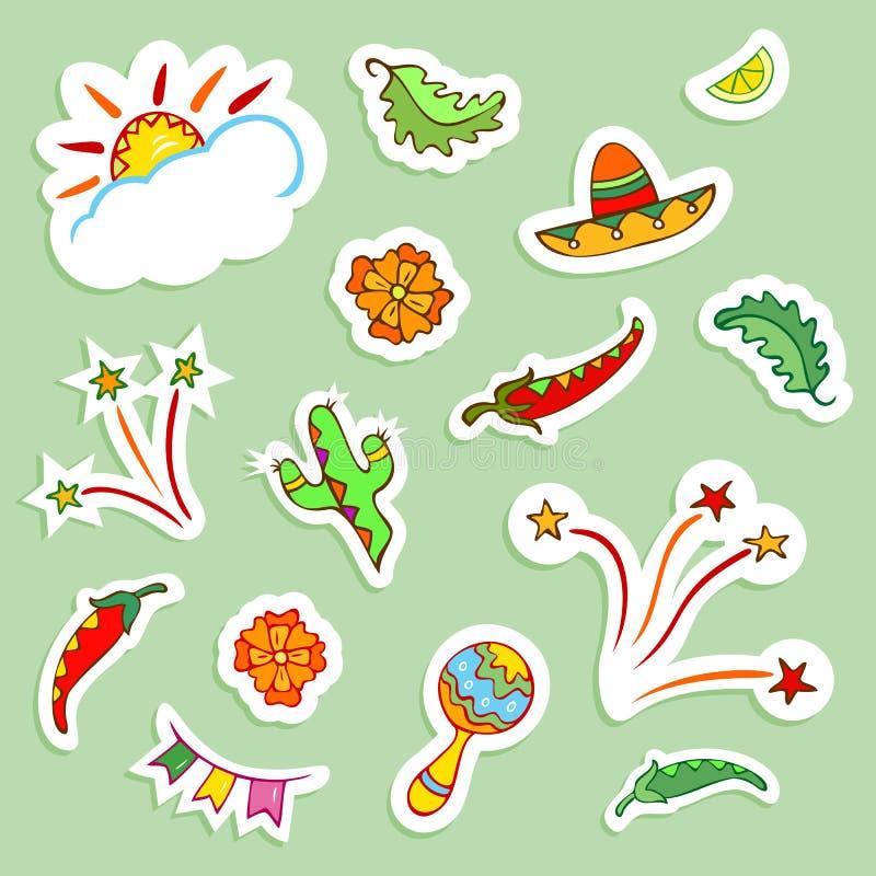 Mexicaanse pictogrammeninzameling stock illustratie