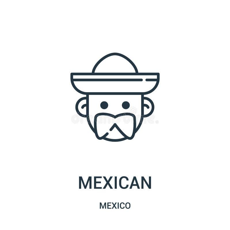 Mexicaanse pictogramvector van de inzameling van Mexico Dunne het pictogram vectorillustratie van het lijn Mexicaanse overzicht stock illustratie