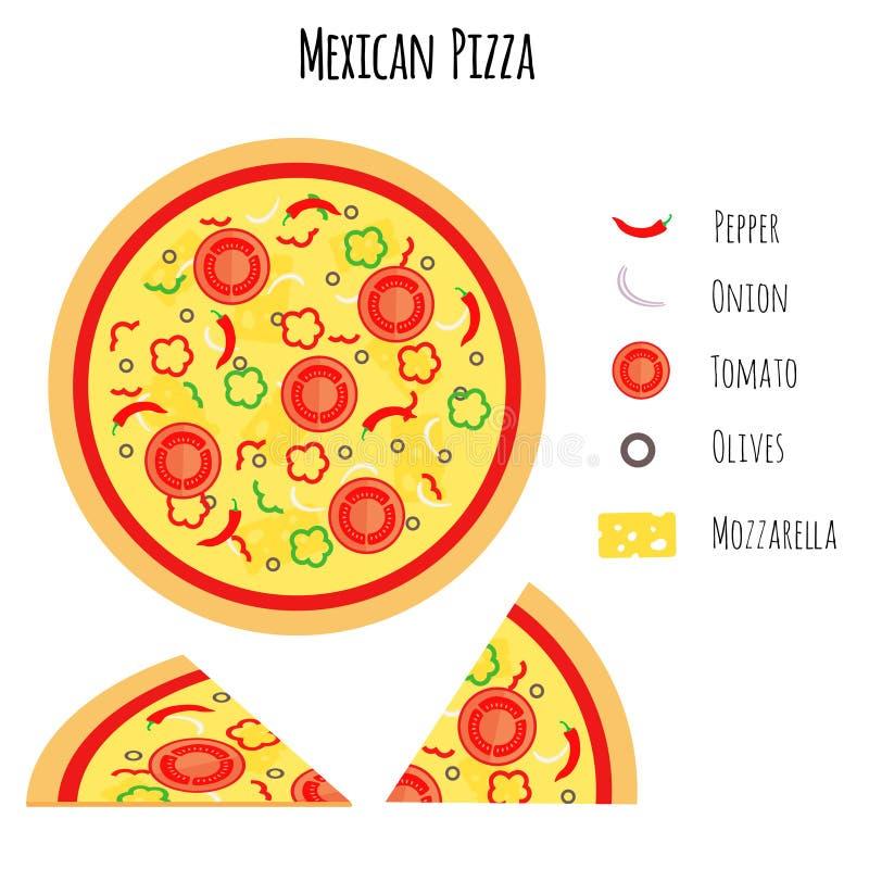 Mexicaanse pizza met ingrediënten vector illustratie