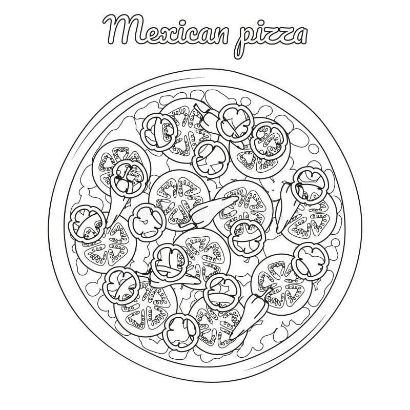 Mexicaanse pizza met tomaten, peper en Spaanse pepers stock illustratie