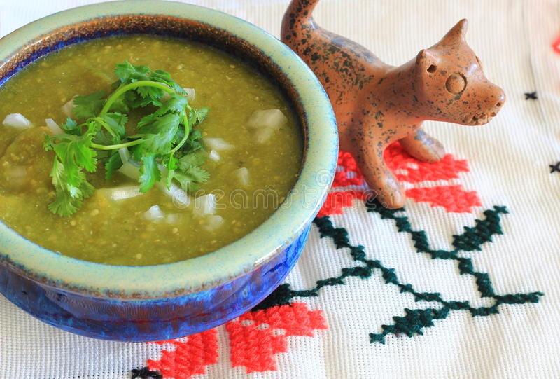 Mexicaanse Salsa Verde en de hond van kleixoloitzcuintle stock afbeelding