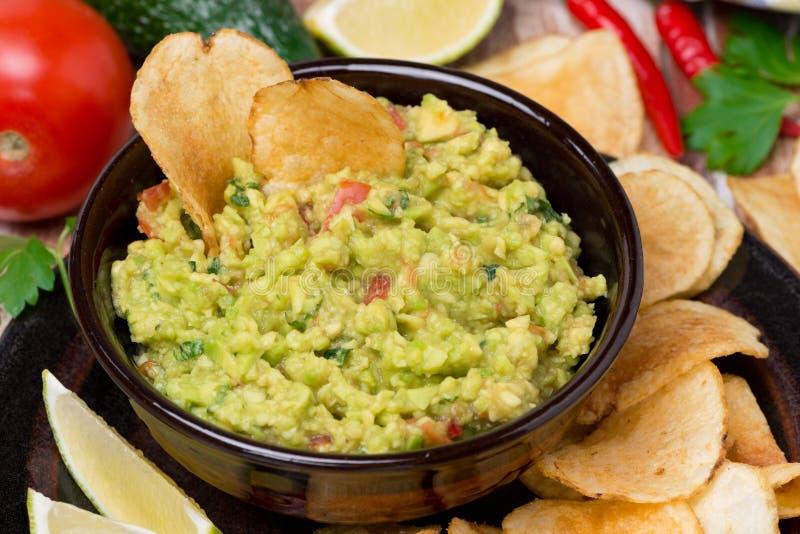 Mexicaanse saus guacamole, hoogste mening royalty-vrije stock foto