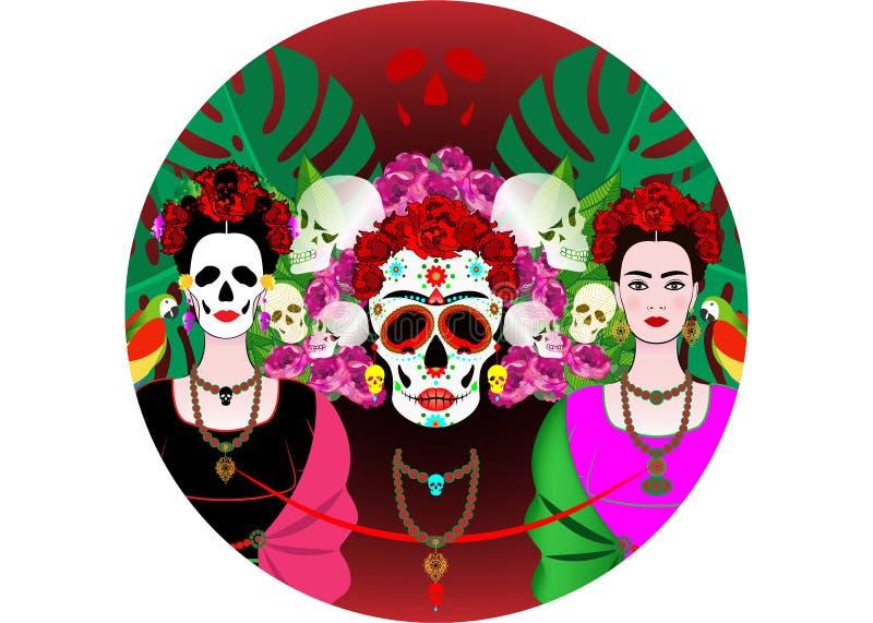 Mexicaanse schedel, Calavera met bloemen Decoratie voor Dag van de Doden, Dia DE los Muertos Halloween-geïsoleerde afficheachterg stock illustratie