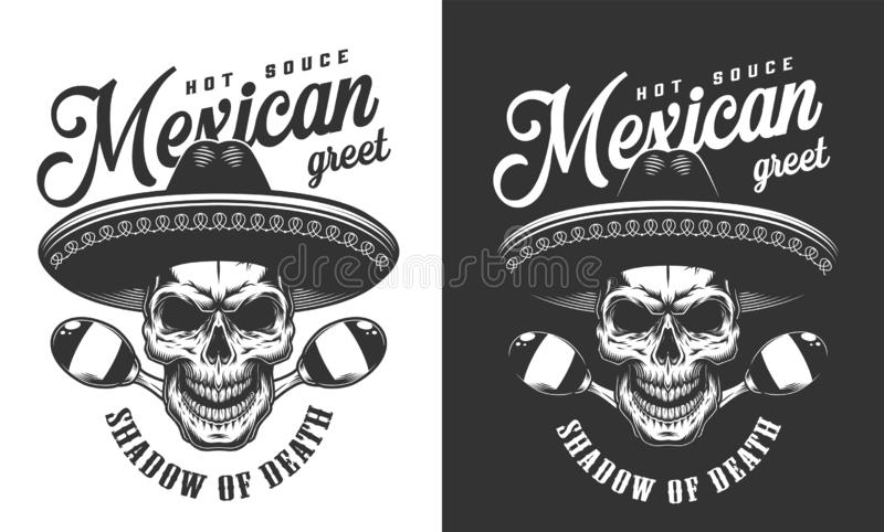 Mexicaanse schedel in het embleem van de sombrerohoed vector illustratie