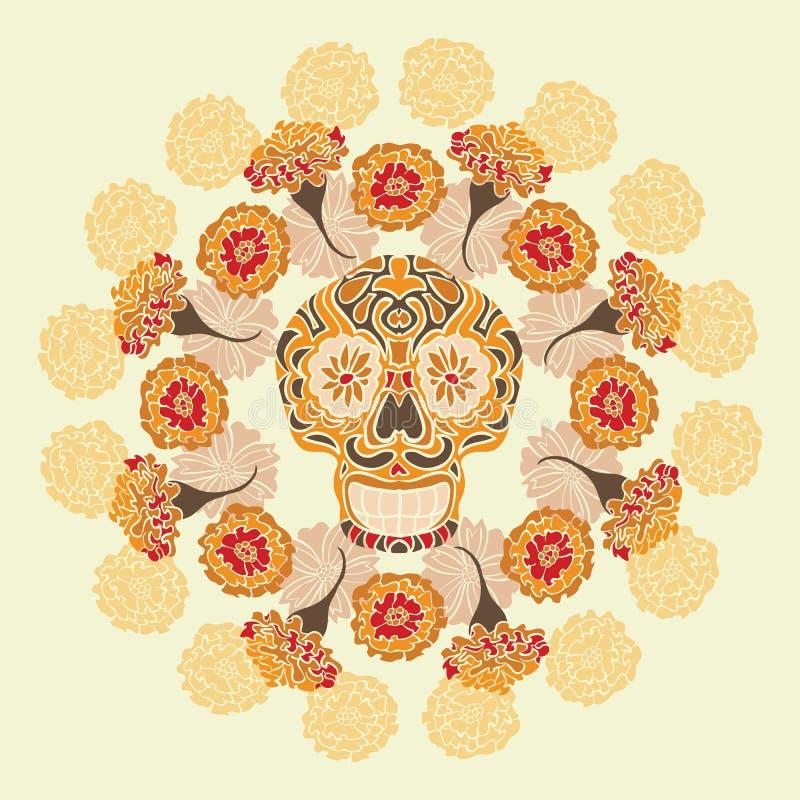 Mexicaanse schedel met merigoldpatroon royalty-vrije illustratie