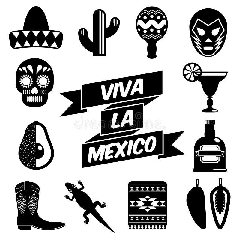 Mexicaanse silhouetten vector illustratie