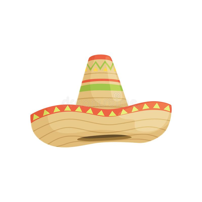 Mexicaanse sombrerohoed, traditioneel symbool van de vectorillustratie van Mexico op een witte achtergrond royalty-vrije illustratie