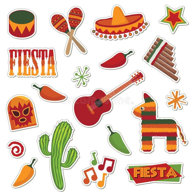 Mexicaanse stickers vector illustratie